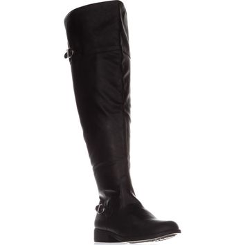 AR35 Adarra Wide Calf Over The Knee Boots, Black Smooth, 8 US