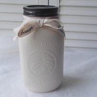 Painted Mason Jar White Mason Jar Farmhouse Jar Vase Winter Wedding Vase Shabby Chic