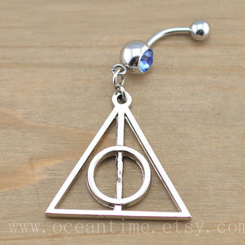 Harry potter Deathly Hallows Belly Button Rings,Navel Jewlery, Harry potter Deathly Hallows belly button ring,red bead, summer jewelry