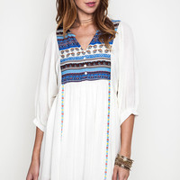 Multi Patterned Peasant Dress - Off White