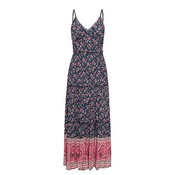 Oh So Wonderful Navy Red Floral Pattern Sleeveless Spaghetti Strap V Neck Ruffle Cut Out Back Casual A Line Maxi Dress