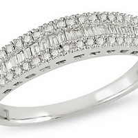 1/4 Carat Round and Baguette Diamond 14K White Gold Anniversary Ring