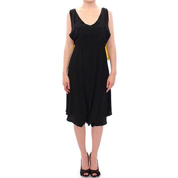 Black Yellow Silk Shift Sheath Coctail Dress