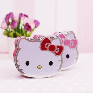1X Cute Kawaii Hello Kitty Metal Small Tin Plate Stationery Storage Candy Box Desk Decor Clip Holder & Clip Dispenser