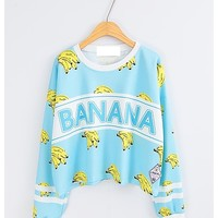 Blue banana printed sweater two colors