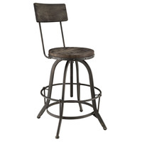 Procure Industrial Modern Wood Bar Stool in Black