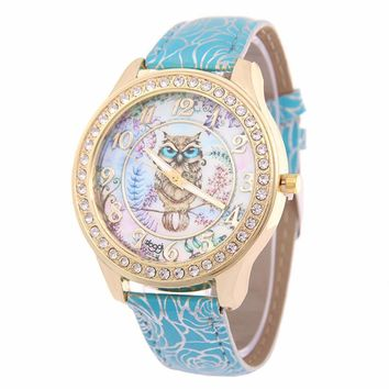 Chinese Style Print Women Watches Top Brand Luxury Rhinestone Gold Watches Women Fashion Watch 2017 Nice PU Leather Montre