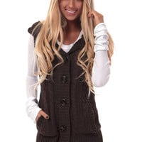 Brown Knitted Sweater Vest with Hood