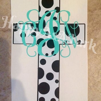 Custom/Personalized Car Decal Cross With Polka Dots And Monogram
