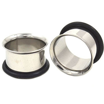 Pair of Stainless Steel Ear Tunnel Plugs Single Flared Gauges - 00G 10MM