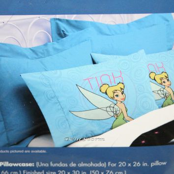 "Licensed cool Disney Tinker Bell Fairy Peter Pan Blue Standard Pillowcase Pillow Case 20""x30"""