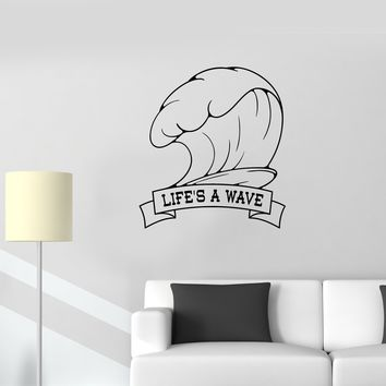 Wall Sticker Life Is A Wave Sport Decor Nature Ocean Marine Vinyl Decal Unique Gift (ed538)