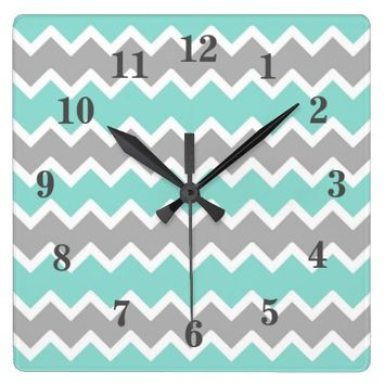 Aqua Blue Gray Grey Chevron Print Pattern Girl Square Wall Clock