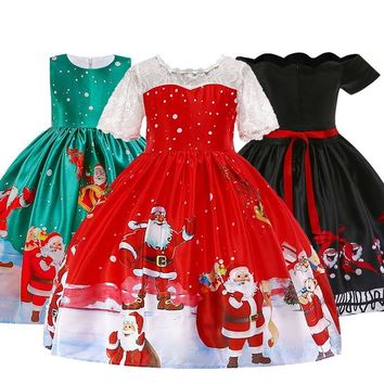 Girls Christmas Princess Costume 2018 Baby Girl Party Princess Dresses Children's Birthday Lace Dress Kids Clothing 2-10Y Dress