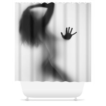 Lady In My Shower Silhouette Shower Curtain
