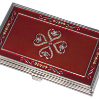 Visol Red Lacquer with Embedded Crystals Business Card Case for Women