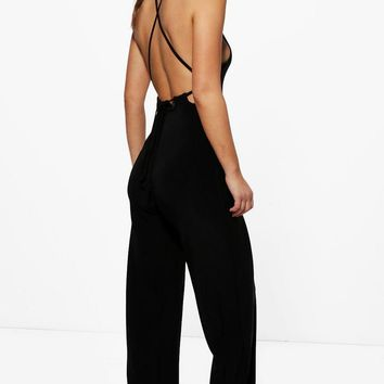 Petite Tia Strappy Open Back Wide Leg Jumpsuit | Boohoo