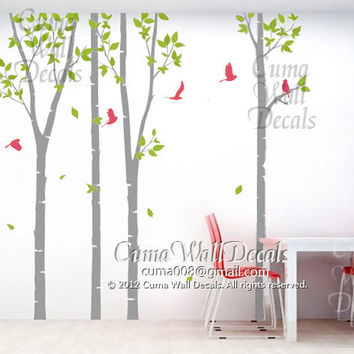 Nursery wall decal tree Wall decal birch tree wall decals Nursery vinyl wall decal birds forest-tree birds in forest Z105 cuma