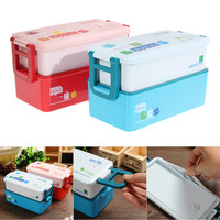 2 layer Bento Lunch Box for Kids Food Container Food Tableware 850ML lunchbox Red Blue 7.2*3.3*3.9in