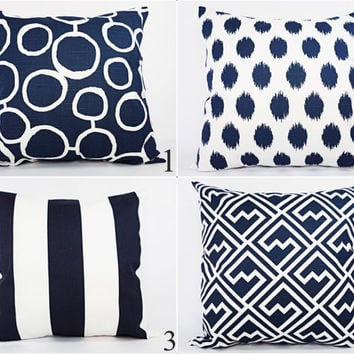 Two Navy and White Decorative Pillow Covers - 18 x 18 Inch Navy Blue Throw Pillow Cover - Decorative Pillow Cushion Cover Navy Blue Pillows