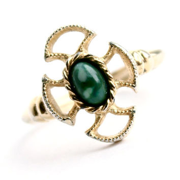 Vintage Cross Maltese Ring - Adjustable Gold Tone Signed Avon Green Stone Costume Jewelry / Baroness