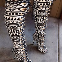 Women Boots Above the Knee Front Lace