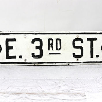 Vintage Metal Street Sign, Street Sign, Black And White Street Sign, Industrial Decor
