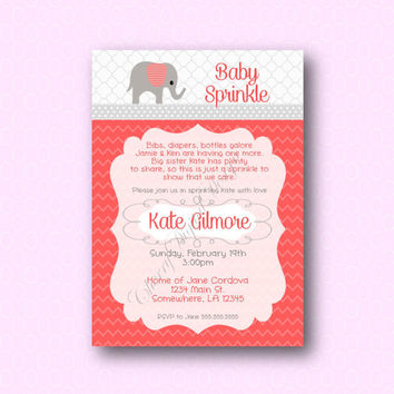 Pink Elephant Baby Girl Shower Digital Printable Invitation. Coral It's a girl baby shower invite.  Up Up and Away Invitation. DIY Invite