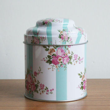 Retro Pink Rose Blue Stripe Kitchen Coffee Tea Sugar Container Jar Can Tin Metal Home Decor Can