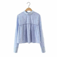 Women cute heart print striped crop tops pleated short shirt peter pan collar long sleeve loose blouse casual blusas LT1491
