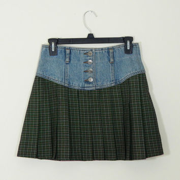 Green Pleated Plaid Button-Up Mini Skirt with a Denim Waist // 90s // Grunge // Vintage