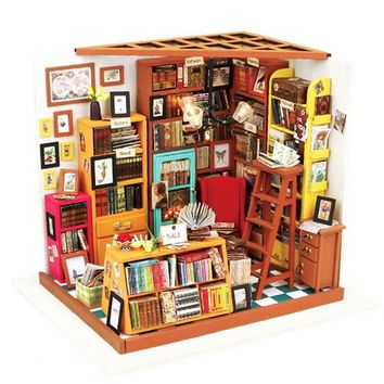 Cuteroom Handmake DIY Doll House The Book Shop Dollhouse Miniature 3D LED Furniture Kit Light Box Gift For Children