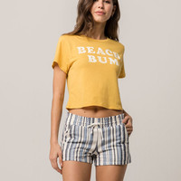 ALMOST FAMOUS Stripe Linen Womens Shorts