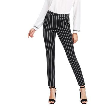 Vertical Striped Skinny Pants with Elastic Waist Pocket
