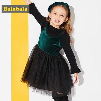 Balabala girls princess dress spring clothing for children toddler girl clothing Long Sleeve fashion Christmas Dress for Girls