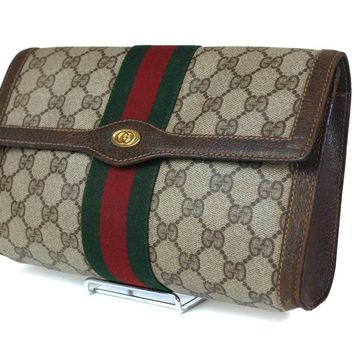 Auth GUCCI GG Pattern PVC Canvas Leather Brown Clutch Bag GP1446