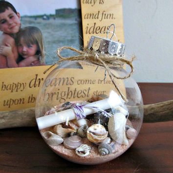 Message In A Bottle Ornament - Round - Rustic, Christmas Gift, Holiday Decor
