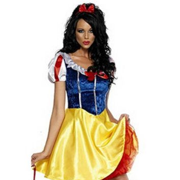 DCCKHY9 Plus Size Adult Snow White Costume Carnival Halloween Costumes For Women Fairy tale Clothes Dress Female XL