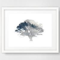 Blue tree art print, tree wall art, tree poster, modern wall decor, printable tree, sycamore tree, forest trees, affiche scandinave