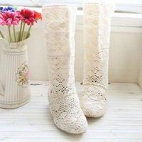 Woman lace casual long boots shoes spring summer beige