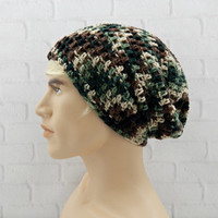 Camouflage Beanie, Mens Winter Hat, Slouch Hat, Camo Beanie Hat, Skater Slouchy Hat, Baggy Hat, Adult Beanie Cap, Camo Vegan Slouch