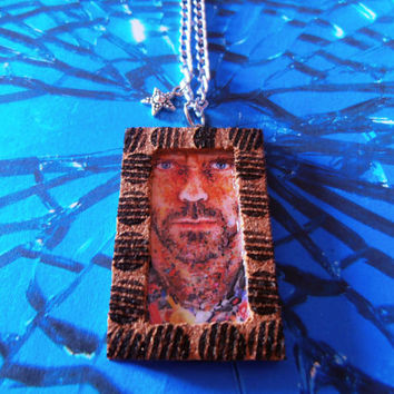 House MD Necklace Pendant Laminated Illustration Cork Frame Handmade Jewelry
