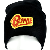David Bowie Lighting Bolt Beanie Knit Cap Alternative Rock Clothing Ziggy Stardust