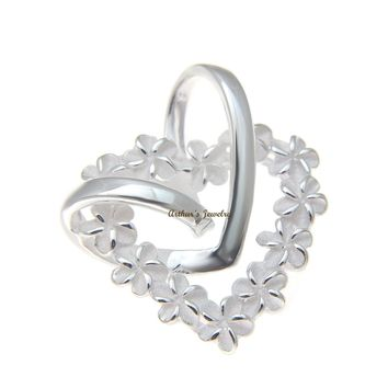 STERLING SILVER 925 SHINY HEART HAWAIIAN PLUMERIA FLOWER LEI HEART PENDANT