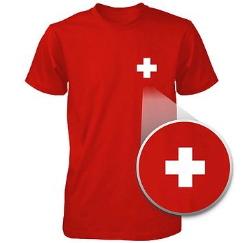 Switzerland Flag Pocket Printed Red Tee Men's Short Sleeve T-shirt