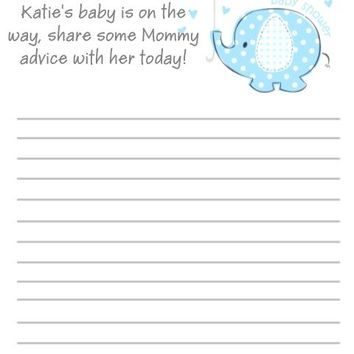 10 Blue Baby Elephant Baby Shower Advice Cards