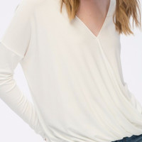 Surplice Long Sleeve Top in Off White