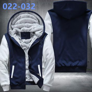 New Footballs Jacket Super Warm Thicken Fleece Zip Up Hoodie Men's Coat Free Shipping USA size plus size best NO.2 Blue