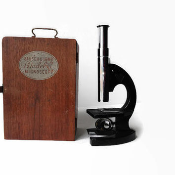 1930's Bausch and Lomb Microscope in Wood Case, Vintage Scientific Equipment, Industrial Decor
