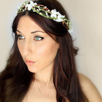 Flower Crown White Woodland Wedding Tiara Bridal Hair by deLoop